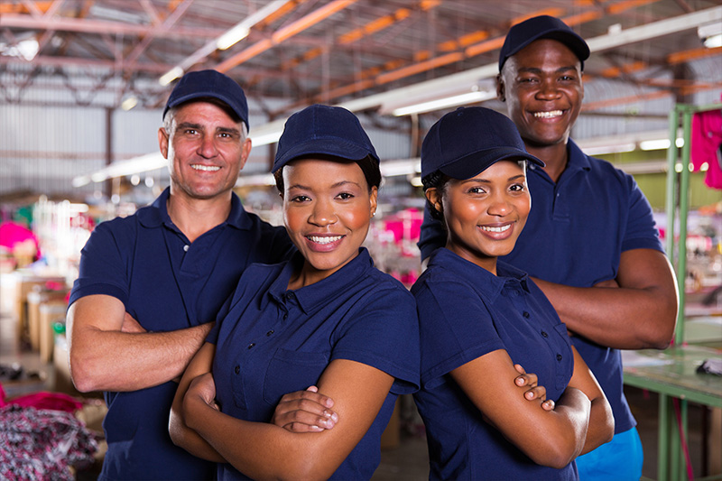 Healthy employees in manufacturing company